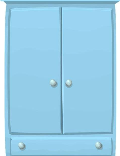 Rysunek, niebieska szafa