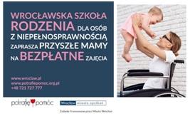 Plakat promujący Wrocławską Szkołę Rodzenia dla kobiet z niepełnosprawnością