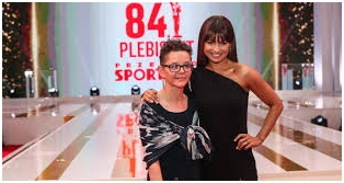 Halina Andrzejak z Anną Lewandowską Prezeską Olimpiad Specjalnych na Gali 84 Plebiscytu Przeglądu Sportowego