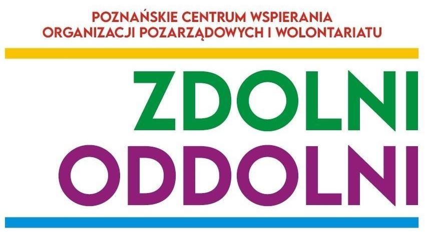 """Logo Poznańskiego Centrum Wspierania Organizacji Pozarządowych i Wolontariatu """"Zdolni Oddolni"""""""