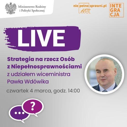 Plakat promujący spotkanie live dotyczące strategii na rzecz osób niepełnosprawnych