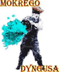 Grafika przedstawia mężczyznę z wiadrem w ręku. Ze środka wylewa się woda