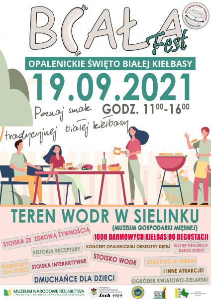 Plakat informujący o Biała Fest. Opalenickim święcie białej kiełbasy