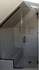 Quality use of a Non-Traditional Corner Shower incorporating a bench