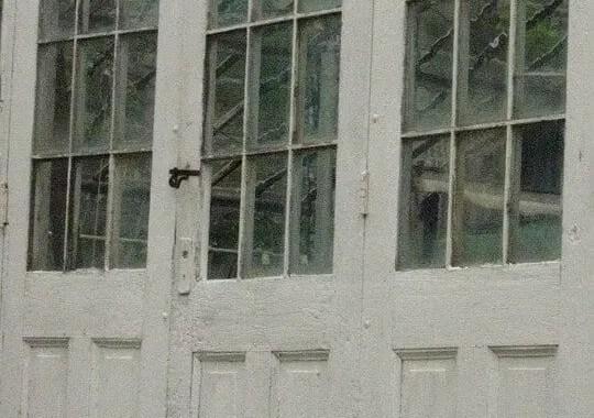 Old wavy glass doors