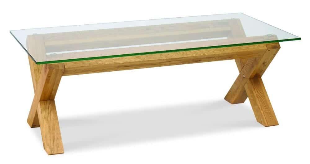 Glass top coffee table blunt corners