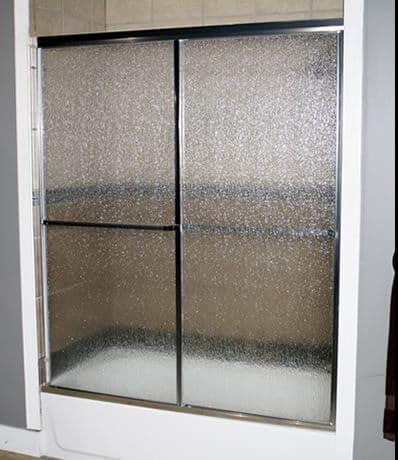 Craftsman Builder series with Chrome finish and Rain glass