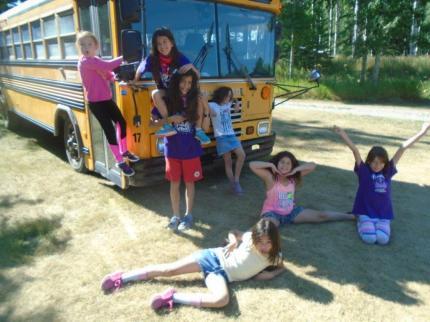 Alberta Camp Cherith Girls by School Bus Posing
