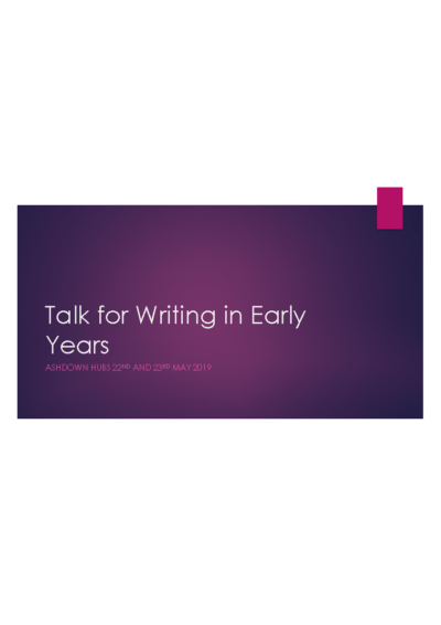 Talk for Writing in Early Years