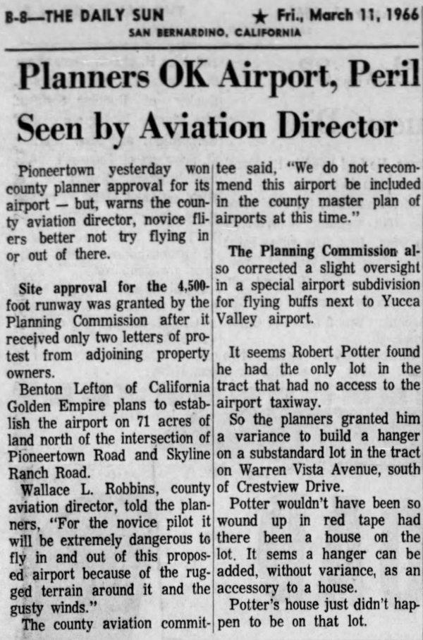 Mar. 11, 1966 - The San Bernardino County Sun article clipping
