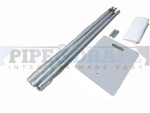 3m x 3m pipe and drape kit consists of 2 vertical poles, 1 horizontal pole, 2 bases, 2 spigots and a carry bag