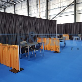 Exhibition Stand Building PIPE AND DRAPE BLACK AND GOLD 1