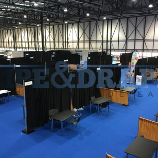 Exhibition Stand Building PIPE AND DRAPE BLACK AND GOLD