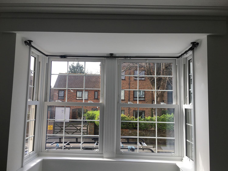 customisable bay window curtain pole bracket set industrial pipe style