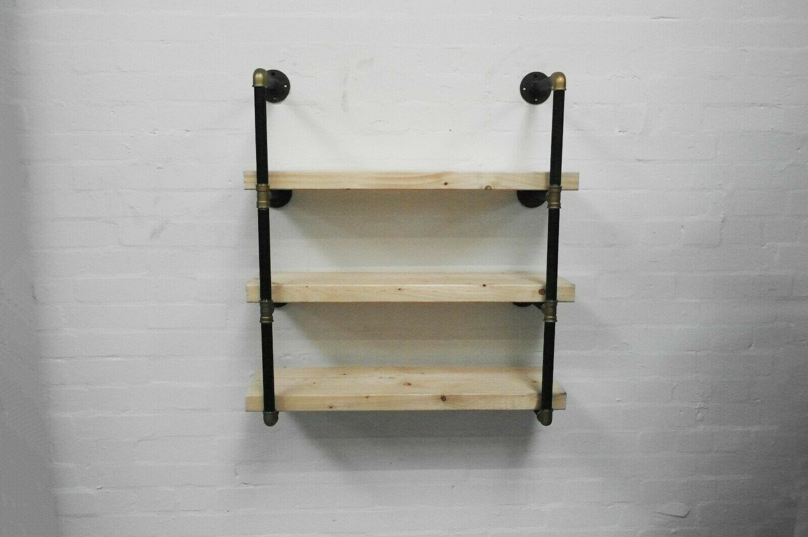 Shelving Unit With Reclaimed Shelves Black And Brass