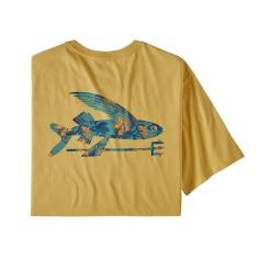 Patagonia Flying Fish Organic Cotton T-Shirt Surfboard Yellow w/ Squash Blossoms SYSQ