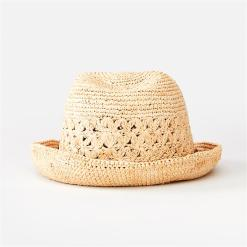 Rip Curl Crochet Straw Fedora Natural