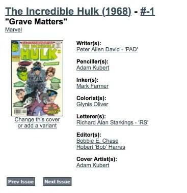 ComicBookDB misidentifies John Workman's lettering as Richard Starkings