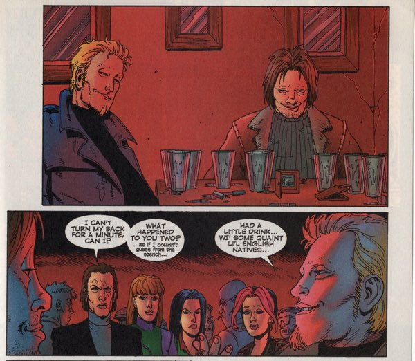 Steve Dillon draws the boys of Gen13 getting drunk.