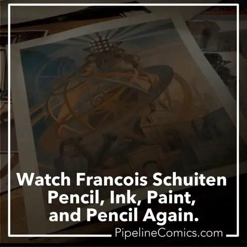 Francois Schuiten pencils, inks, paints, and pencils again
