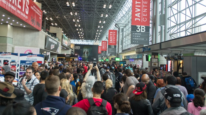The crowd at the front of the Javitz Center for New York Comic Con 2016