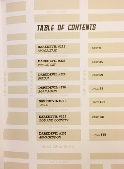 David Mazzuchelli's Daredevil Born Again Artist's Edition table of contents is on a NYC map