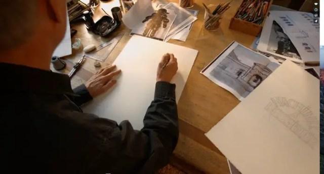 Francois Schuiten faces a blank page.