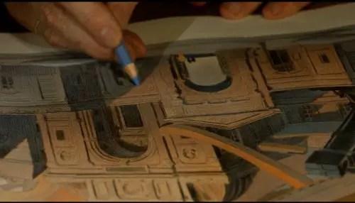 Schuiten uses blue pencils over the watercolors.