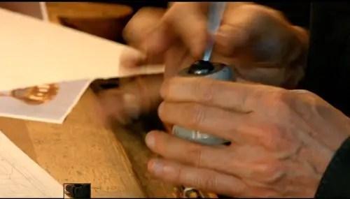 Francois Schuiten uses a different kind of sharpener.