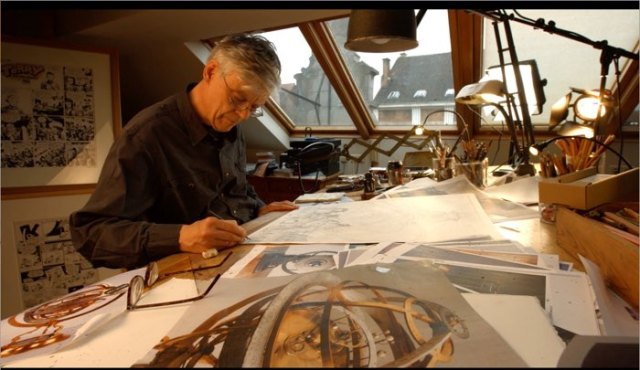 Francois Schuiten's studio with a Terry and the Pirates original