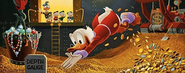 Carl Barks Uncle Scrooge money bin painting