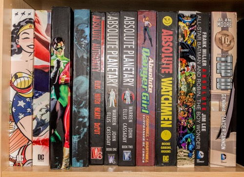 My collection of DC Absolute editions, including Danger Girl, Planetary, Watchmen, DC: New Frontier, etc.