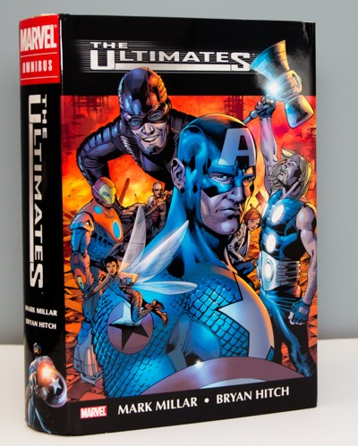 Big thick Marvel Omnibus edition of The Ultimates by Mark Millar and Bryan Hitch