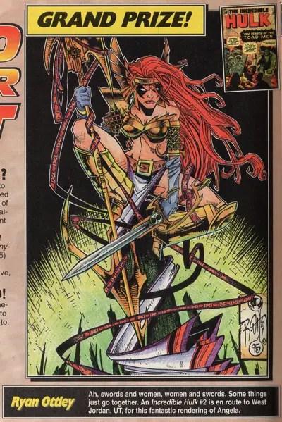 Ryan Ottley draws Angela in Hero Illustrated #23