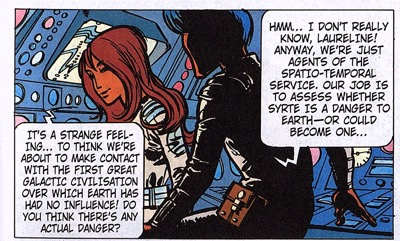 Valerian and Laureline explain everything to the reader by talking at each other.