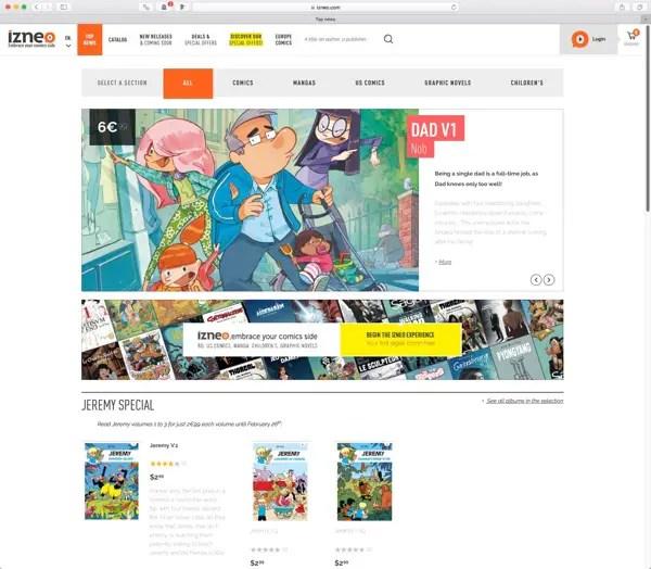 Izneo.com front page screenshot