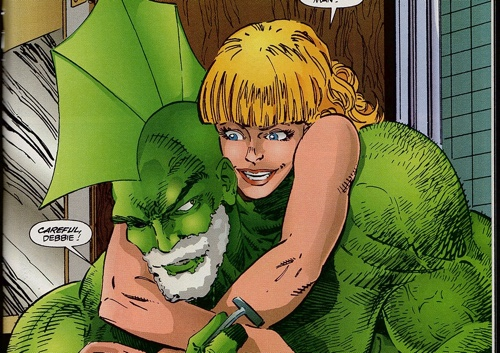 "Debbie and Dragon have fun in the bathroom in Erik Larsen's ""Savage Dragon"" story for Image Zero"