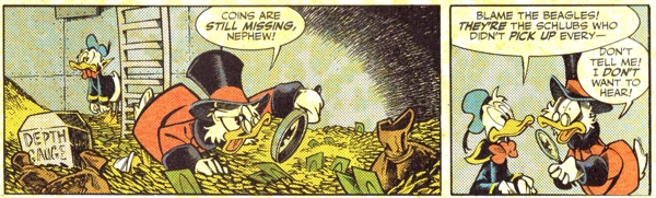 Scrooge looks at his money anew, but check out the yellow coloring spots.