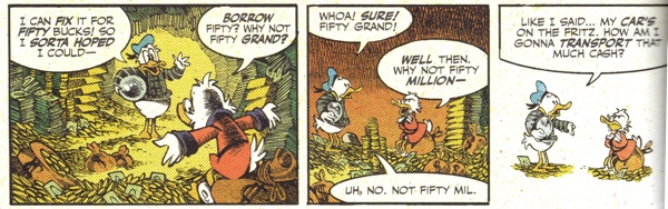 Donald visits Uncle Scrooge in the money bin for a job