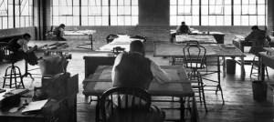 Artists at drafting tables