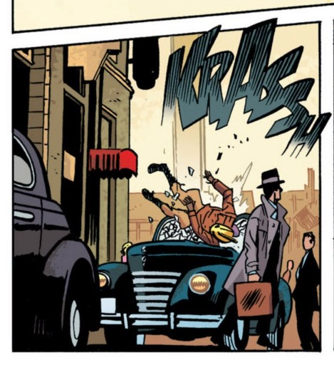 The Rocketeer crashes down to earth, and the sound effect follows.