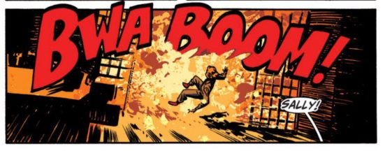 Chris Samnee's Rocketeer lettering juts out of the explosion, but also out of the panel.