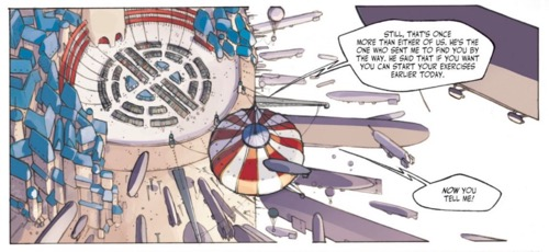 Finally, there's an establishing shot with a word balloon on the next page.