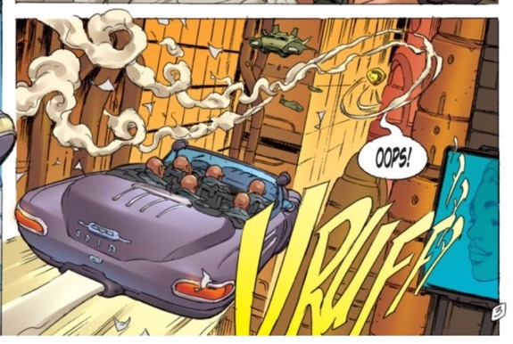 I love the swirling smoke from the car leading the eye through the panel.