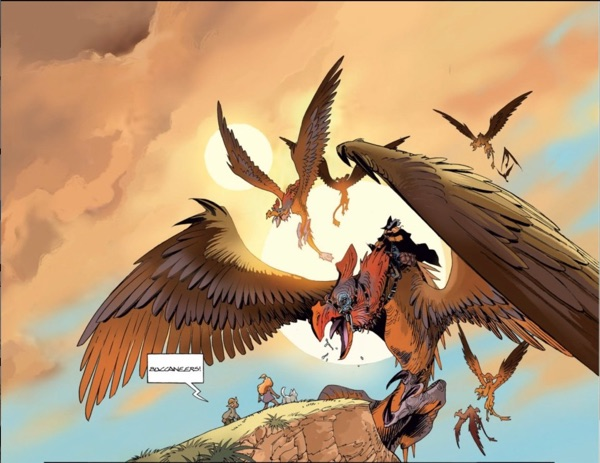 Pirates ride dragon bird creatures in Sangre
