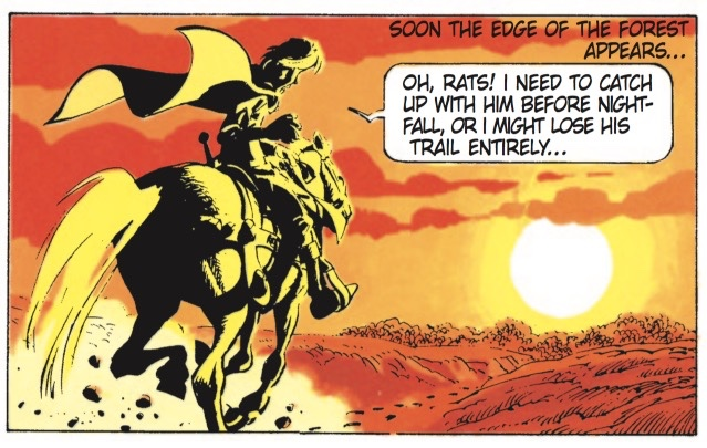 Jean-Claude Mezieres is good at light, such as this image of the sun creating dramatic shadows on Valerian and his horse.