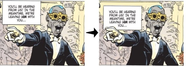 Second panel, before and after the lettering change