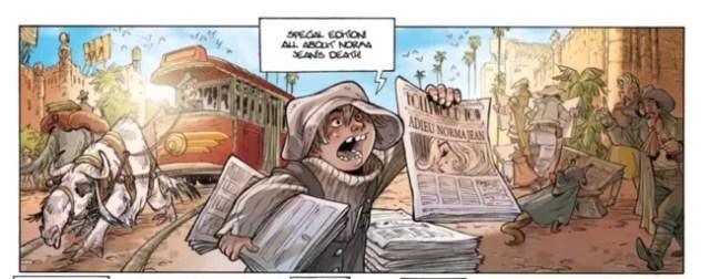 Newspaper boy hawks his wares