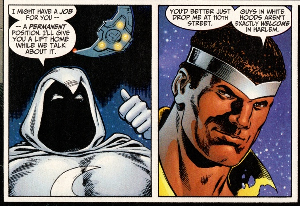 Marvel Knights #11 with white hood talk between Luke Cage and Moon Knight