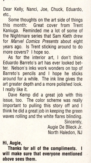 Another letters column appearance by Augie De Blieck Jr. in Marvel Knights